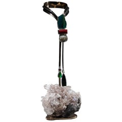 Studio Greytak 'Chrysocolla Bolo Tie on Selenite' with Bamboo Coral, and Pearl