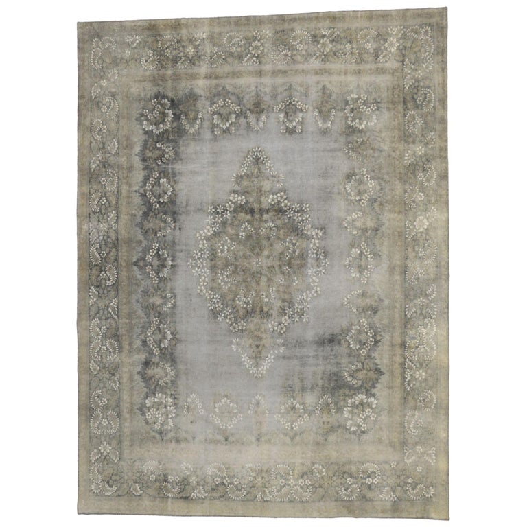 Distressed Vintage Turkish Rug with Rustic French Farmhouse Style For Sale