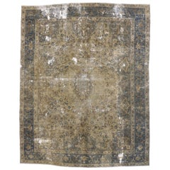 Vintage Distressed Turkish Industrial Area Rug with Rustic Gustavian Style