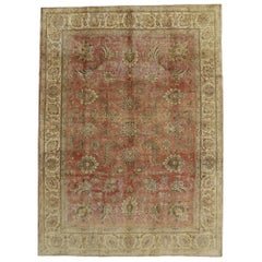 Distressed Vintage Tabriz Persian Rug with Rustic Style