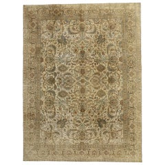Distressed Vintage Tabriz Persian Rug with Warm, Neutral Colors
