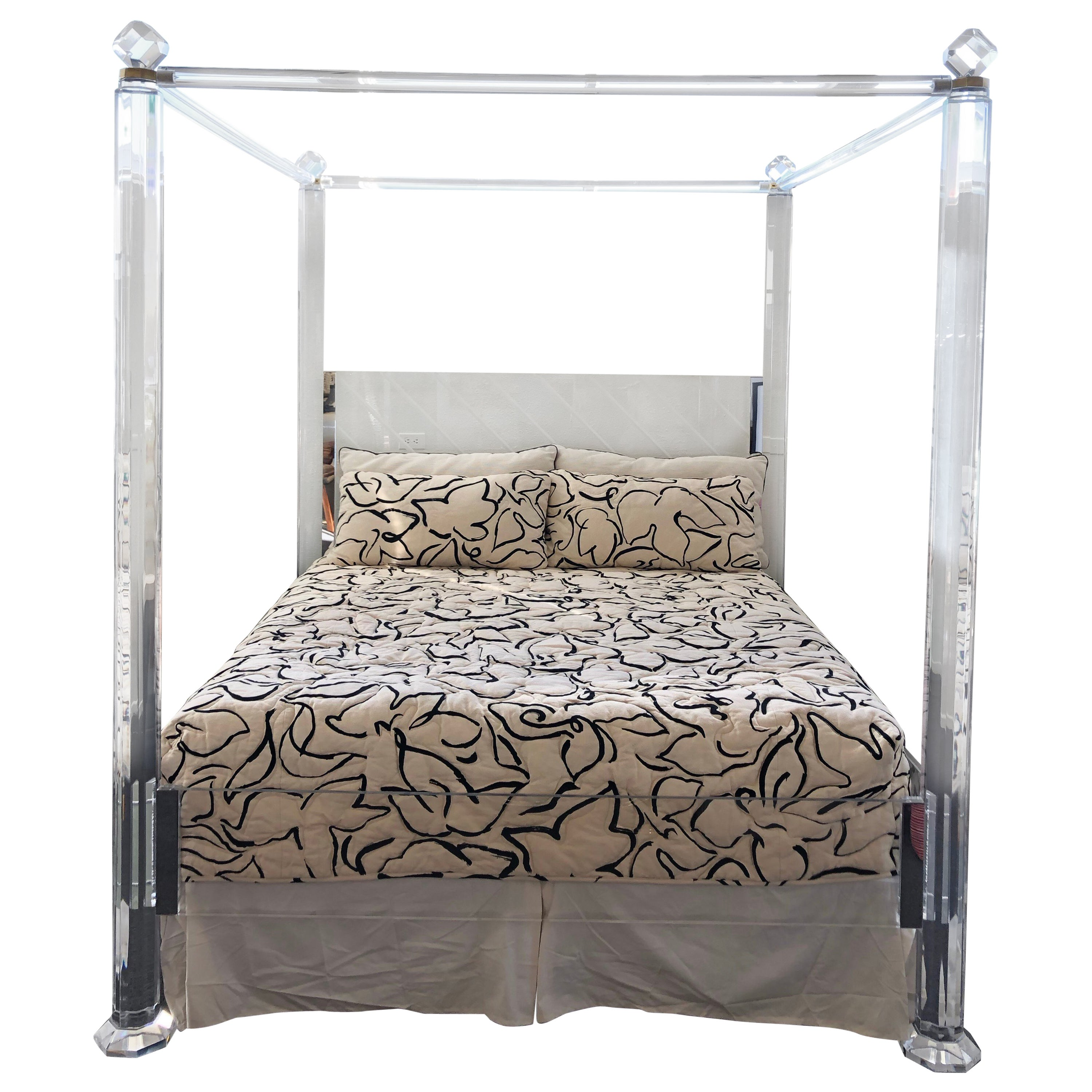 Clear Lucite And Brass King Size Canopy Bed At 1stdibs
