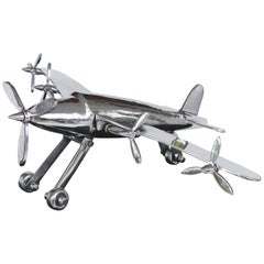 American Art Deco Model Airplane with Articulated Landing Wheels and Propellors