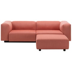 Vitra Soft Modular 2-Seat Sofa in Rose & Orange with Ottoman by Jasper Morrison