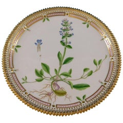 Flora Danica Royal Copenhagen Plate Round Ajuga Repdans L. Blue
