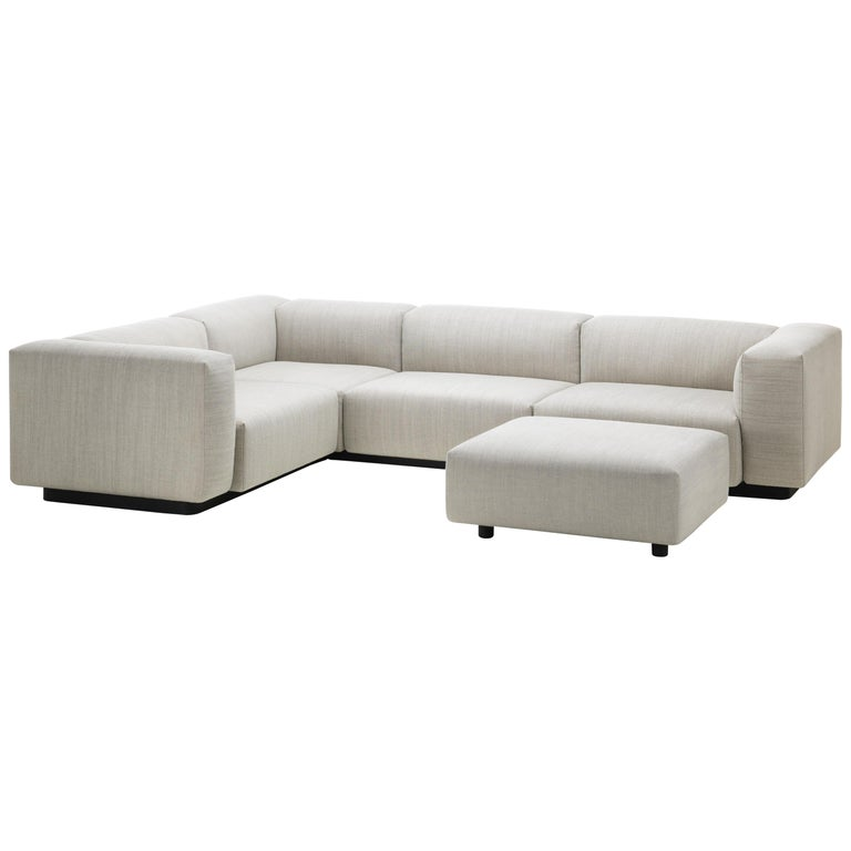 Vitra Soft Modular Three-Seat Sofa in Pearl Reed with Corner and ...