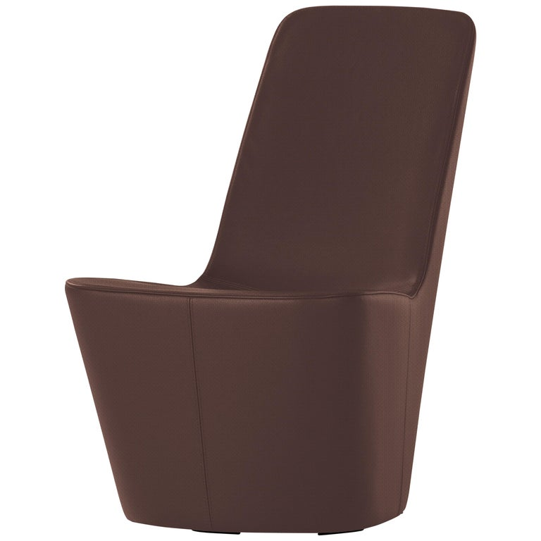 Vitra Monopod Chair in Maroon Leather by Jasper Morrison 1