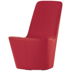 Vitra Monopod Chair in Red Leather by Jasper Morrison