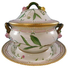 Flora Danica Royal Copenhagen Covered Soup Tureen with Underplate Fabulous Pink