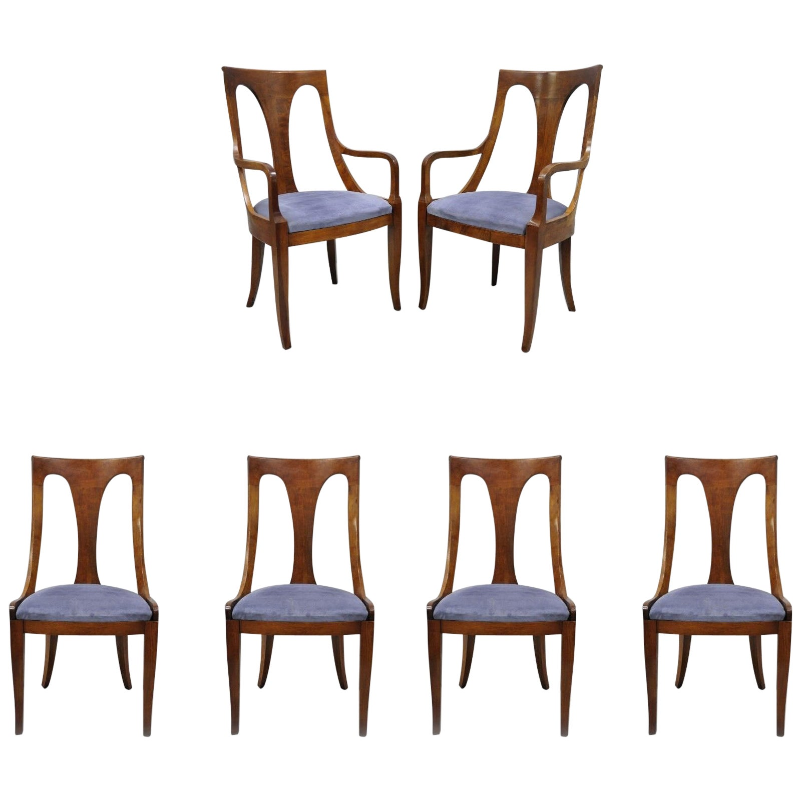 Six Walnut Regency Style Curved Back Dining Room Chairs With Saber Legs At 1stdibs