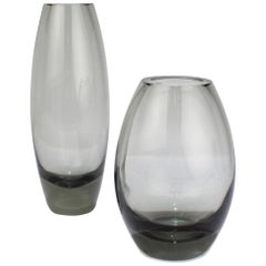 2 Midcentury Grey Hellas Vases by Per Lutken for Holmegaard Glass, 1956