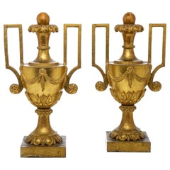 Pair of Large Empire 18th Century Giltwood Vases from Italy Portapalme Lamps