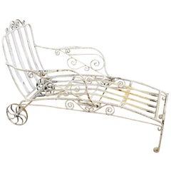 Antique Saltertini Fancy Wrought Iron Art Nouveau Reclining Chaise Lounge Chair