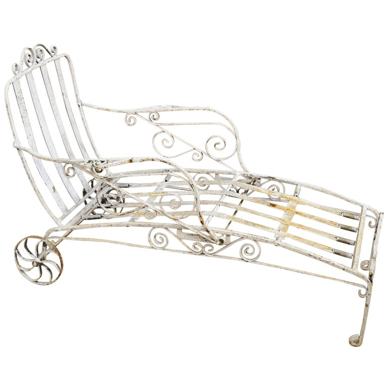 Antique Saltertini Fancy Wrought Iron Art Nouveau Reclining Chaise Lounge Chair For