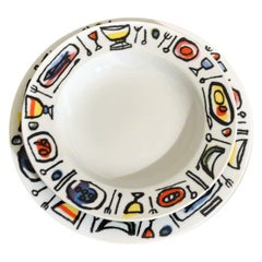 Set of 6 of Pairs of Dishes by Emanuele Luzzati for Fine Porcelain