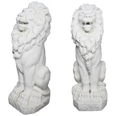 Pair of French Statuary Marble Garden Lions