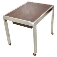 Scandinavian Danish Modern Side Table in Rosewood and Chrome