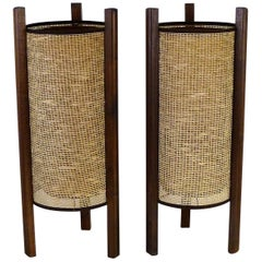 Asian Modern 1950s Noguchi Style Pair of Raffia and Wood Table Lamps