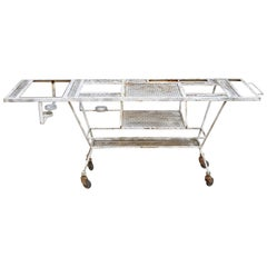 Wrought Iron Industrial Steampunk Rolling Bar Cart Barbeque Pit Table Metal Mesh