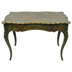 Maitland-Smith Green Hand Painted Chinoiserie French Louis XV Style Desk
