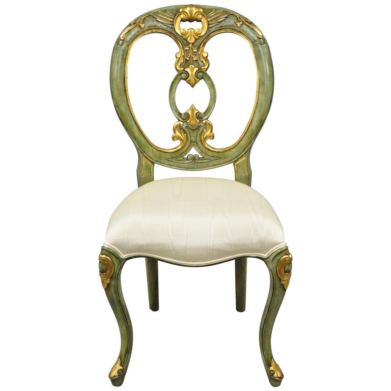 Fine Maitland Smith Green And Gold Painted French Rococo Victorian Style Accent Chair Evergreenethics Interior Chair Design Evergreenethicsorg