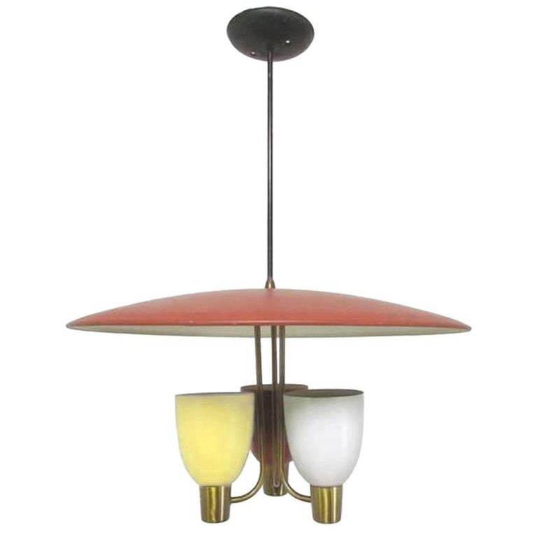 Three Light Ceiling Fixture, 1950's For Sale