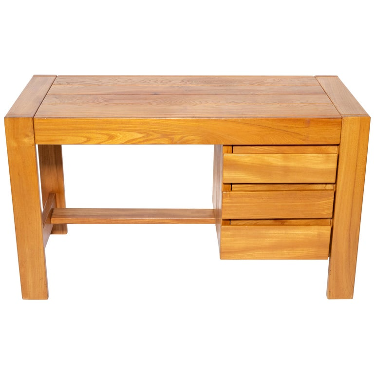 Pierre Chapo Wood Desk, circa 1970 For Sale