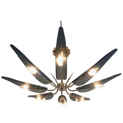 1950s Midcentury Smoked Glass Chandelier in the Manner of Max Ingrand