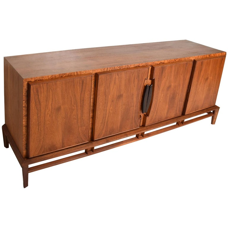 Rare Mid-Century Modern Dresser by Helen Hobey for Baker Walnut, Burl & Rosewood For Sale