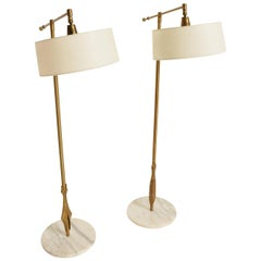 Rare Pair of Floor Lamps by Gerald Thurston with Original Shade and Marble Base
