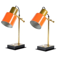 Casey e Fantin Midcentury Pair of Italian Adjustable Brass Table Lamps, 1950s