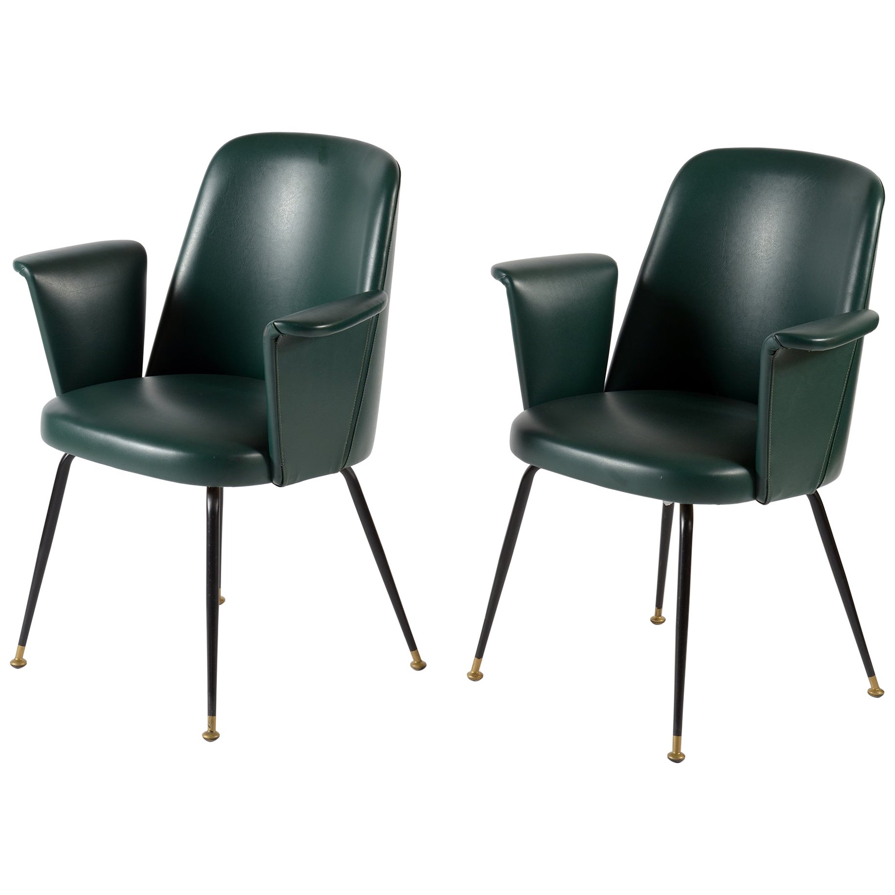 Midcentury Italian Pair of Chairs Brass Leggs Green Original Leatherette, 1950s
