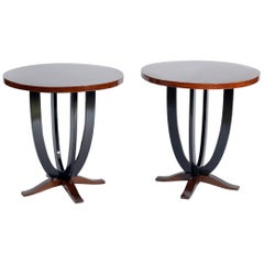 Art Deco Pair of Round Italian Side Tables, 1930s
