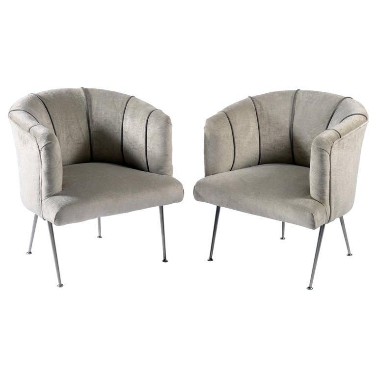 Midcentury Italian Pair of Demilune Armchairs, 1950s For Sale