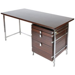 Jules Wabbes Desks in Rosewood and Chrome for Mobilier Universel, 1960s