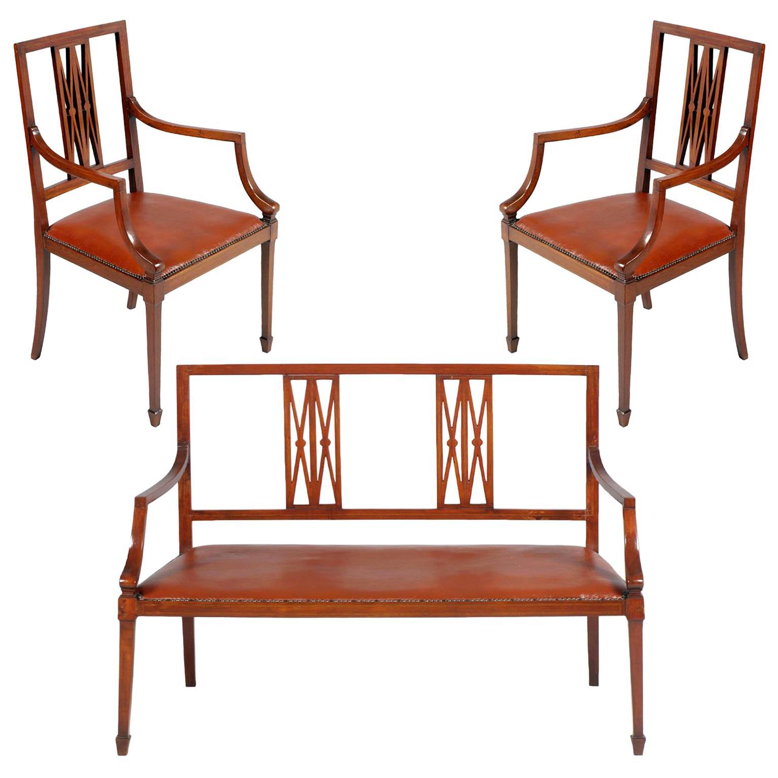 Sofa and Armchairs Labelled Jakob & Joseph Kohn Wien, Josef Hoffmann Style