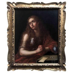 Italian Old Master Penitent Magdalene 18th Century Oil Painting on Canvas