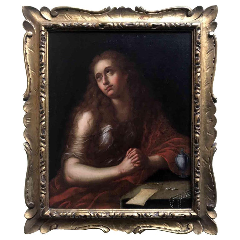Italian Old Master Penitent Magdalene 18th Century Oil Painting on Canvas For Sale