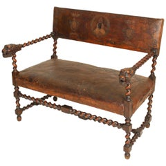 Antique Louis XIII Style Settee with Lion Carved Arms