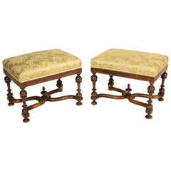 Pair of Antique Louis XIV Style Walnut Benches