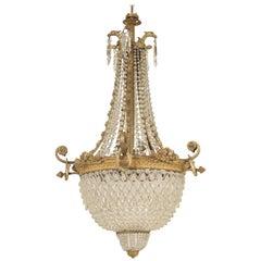 Klassizistischer Stil Vergoldeter Bronze Kristall Kronleuchter
