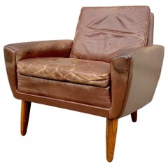 Georg Thams Danish Easy Chair in Brown Patinated Leather, 1960s