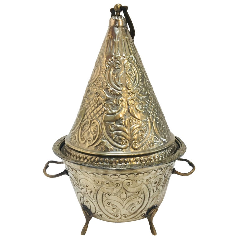 Moroccan Silver Repousse Decorative Dish Tajine with Cover For Sale
