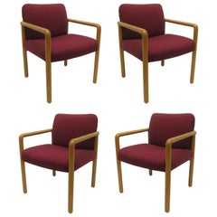 Set of Four Midcentury Upholstered Oak Chairs