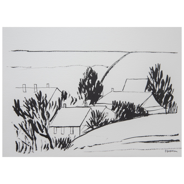 Flemish Landscape Unframed Drawing Ink 100% Cotton Paper Black & White Intimist