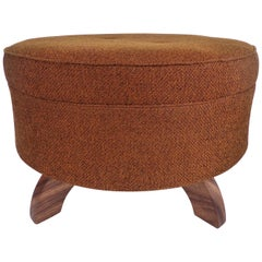 Mid-Century Modern Round Footed Upholstered Poof Ottoman