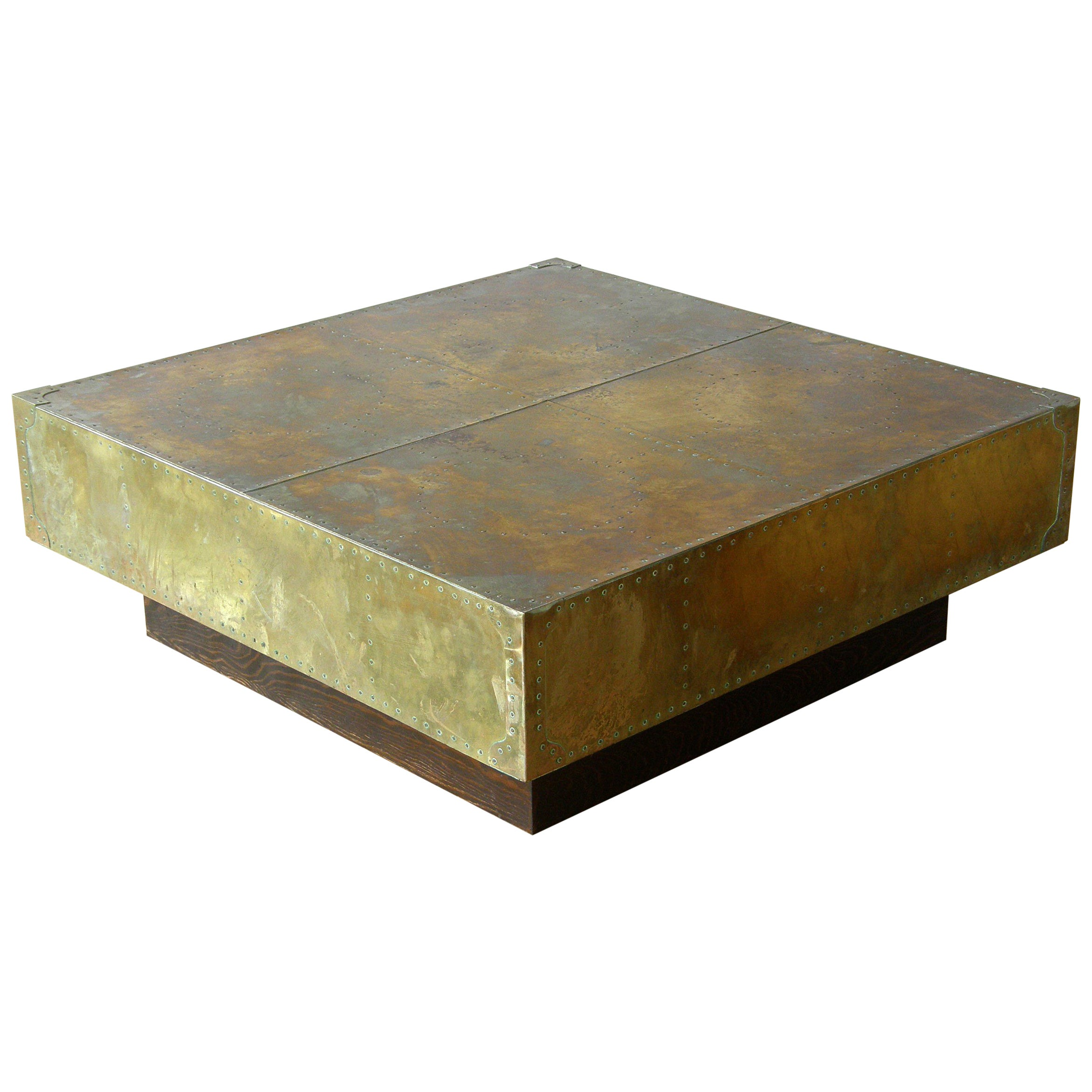 Square Brass Clad and Riveted Coffee Table on Plinth Base Attributed to Sarreid