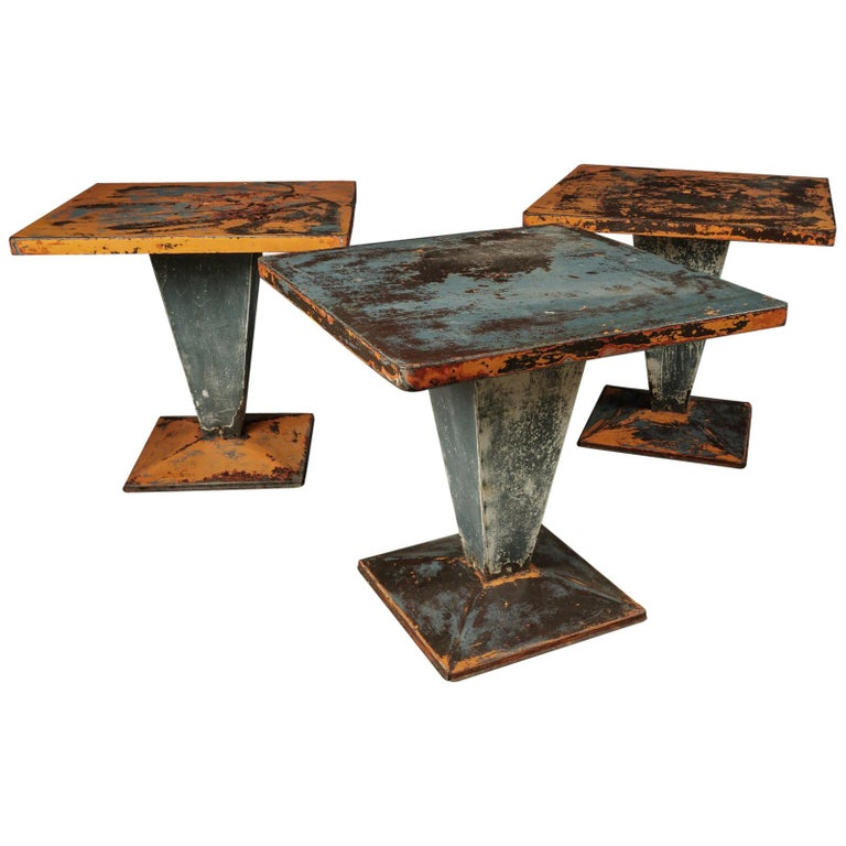 Set of Three Tolix Bistro Tables with Original Paint from France, circa 1950 For Sale