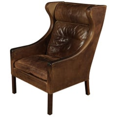 Leather Wingback Chair Designed by Borge Mogensen, Model 2204