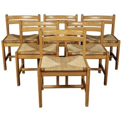 Set of Six Dining Chairs Designed by Borge Mogensen, Denmark, circa 1970